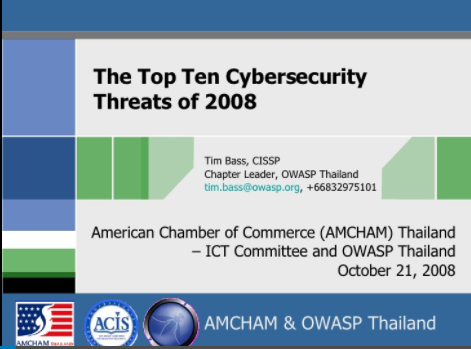 The Top 10 Cybersecurity Threats of 2008 By Tim Bass